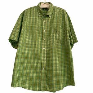 Alan Flusser Green Plaid Short Sleeve Men's Shirt